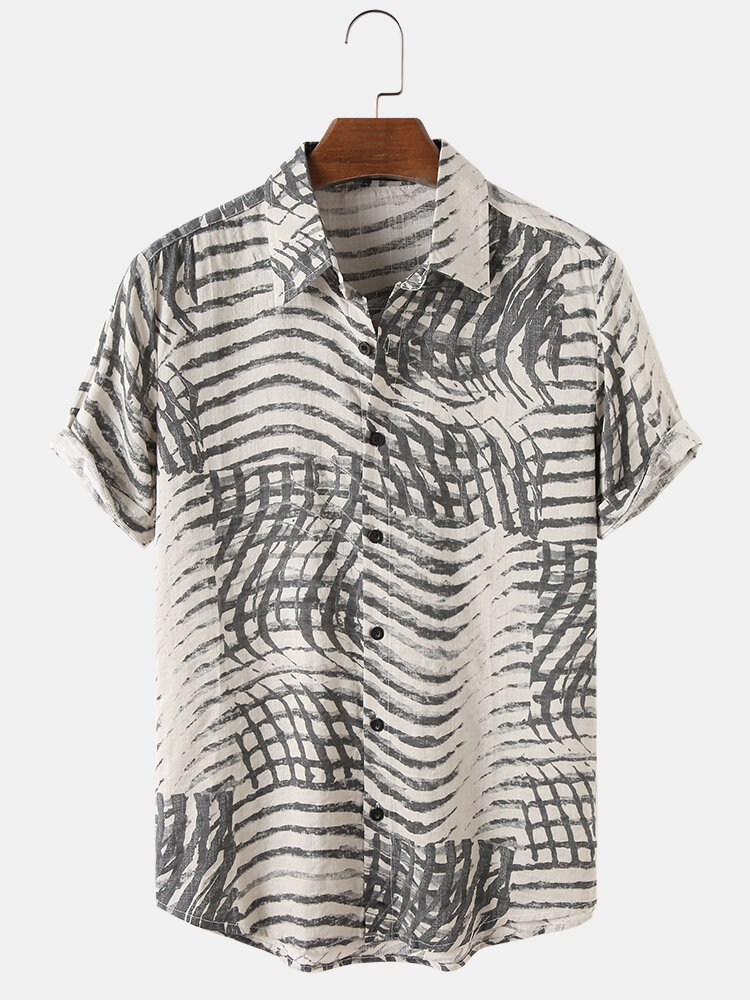 Mens Wave Printed Cotton Breathable Casual Short Sleeve Shirts