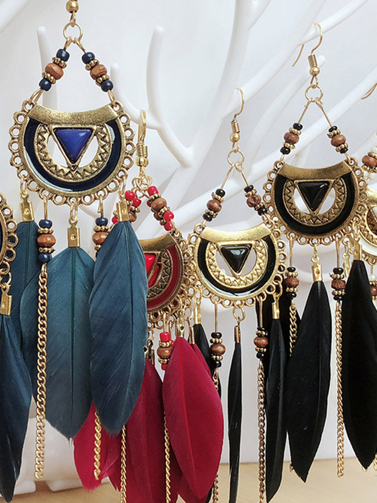 Bohemian Metal Tassel Stripe Beads Earrings Vintage Long Feather Dangle Earrings Women Gift