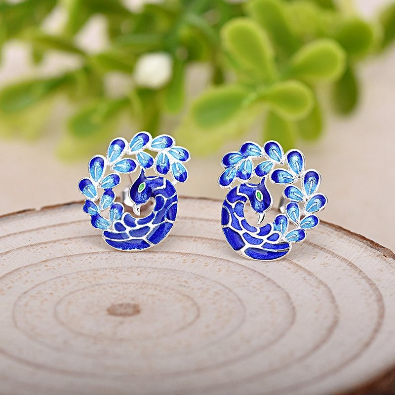 Enamel Painting Blue Peacock Silver Plated Stud Earrings Ethnic Style Lady Gift Earrings for Her