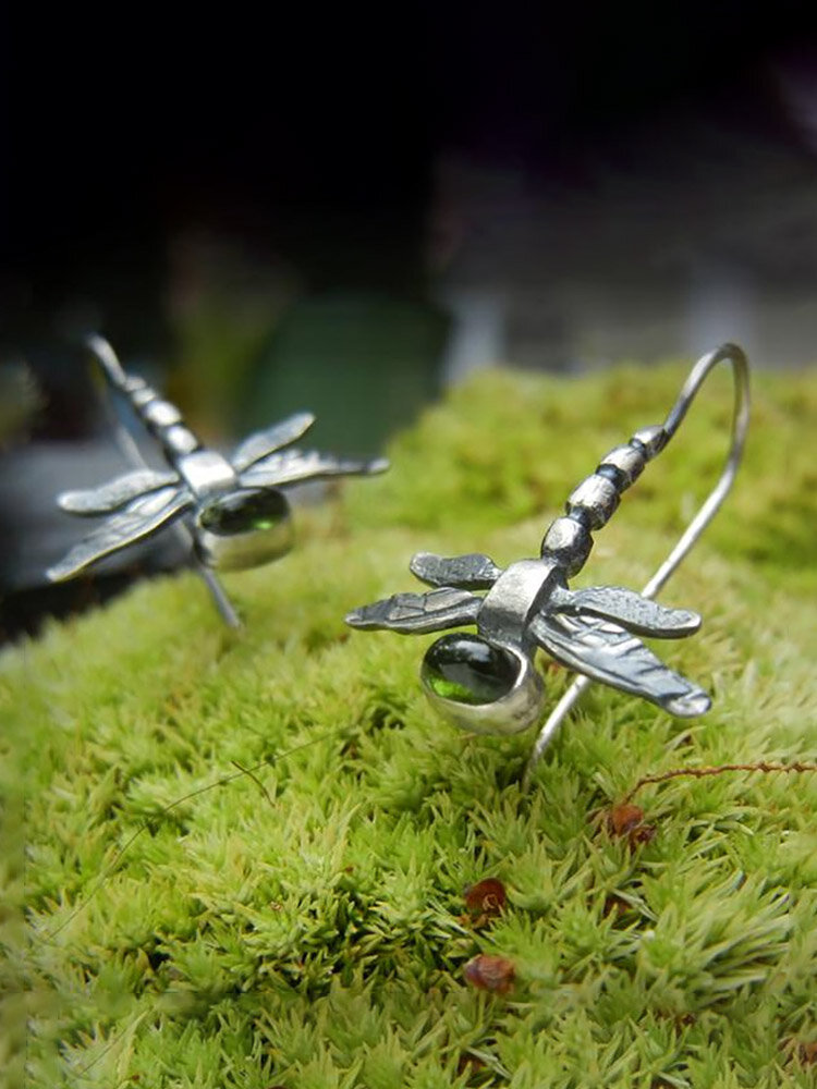 Vintage Alloy Insect Dragonfly-shape Women Earrings