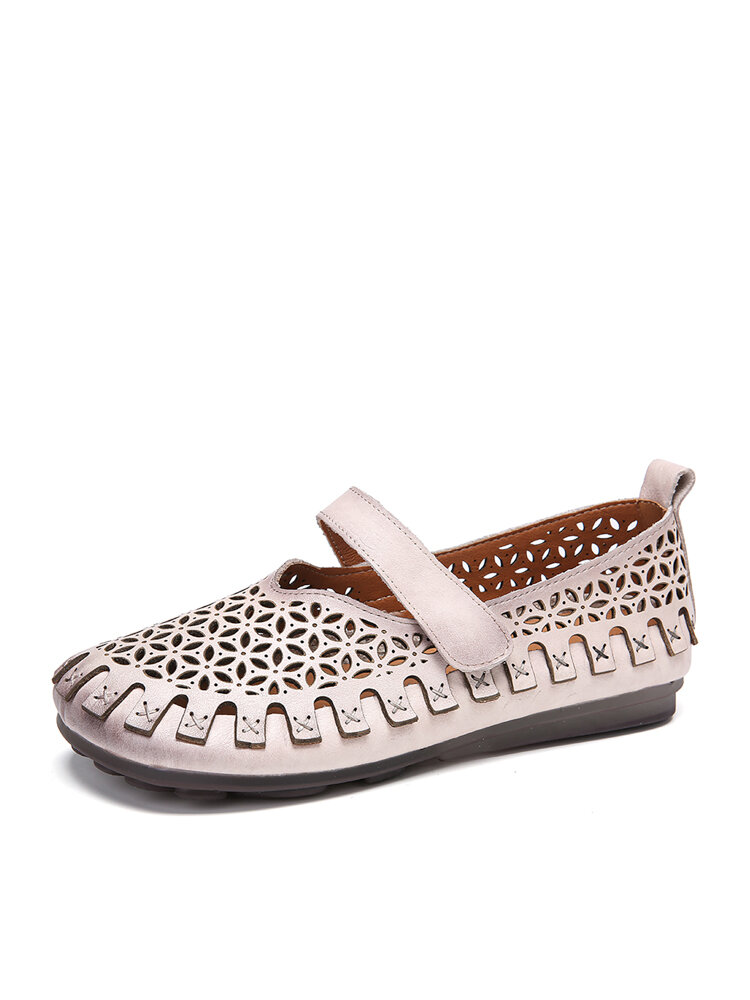 SOCOFY Vintage Handmade All-leather Cutout Stitching Hook Loop Strap Flat Shoes