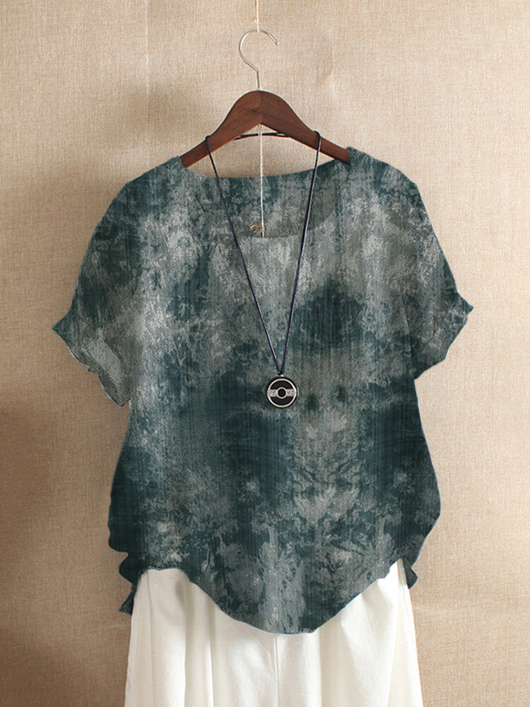 Vintage Printed Short Sleeve Cotton T-shirt For Women