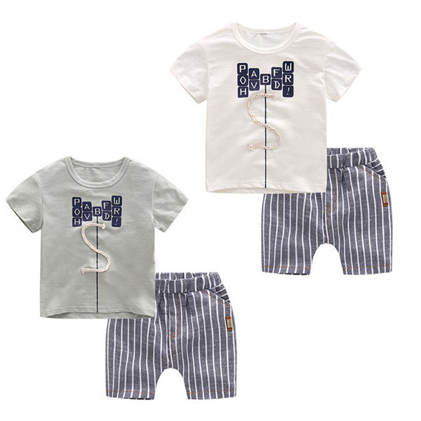 Boys Patchwork Printed Tops Pants Casual Suits For 2-7Y