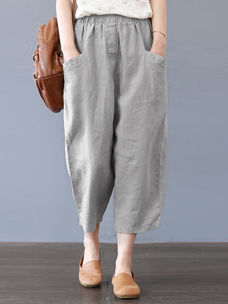 Harem Pants Solid Color Loose Cotton Casual Thin Capris
