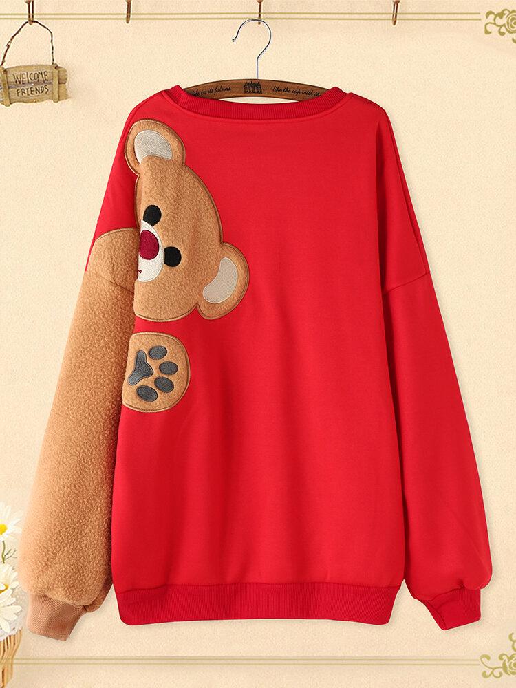 Bear Stitch Patchwork Plus Size Crew Neck Pullover Sweatshirt