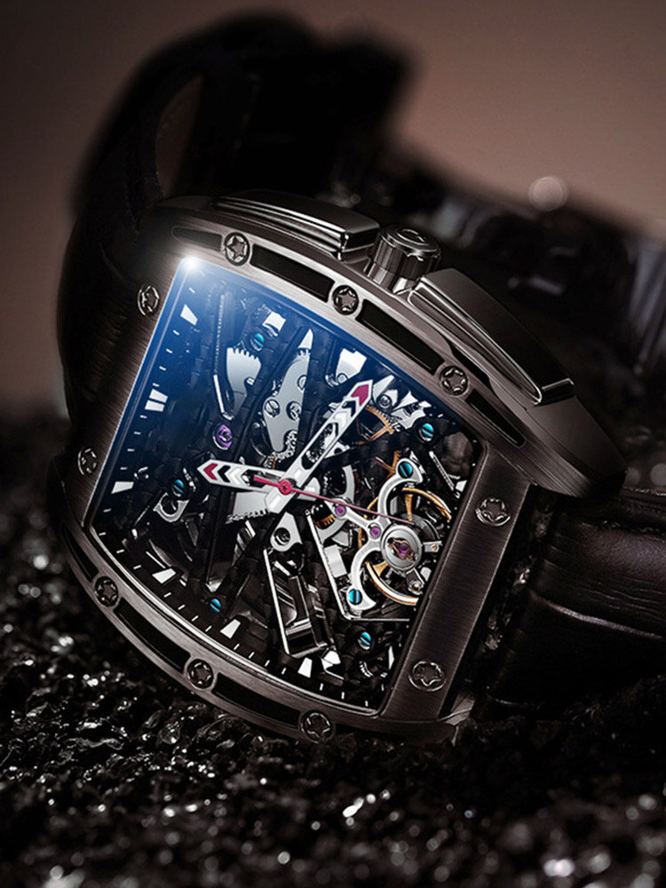 GUANQIN 5 Colors Genuine Leather Rectangle Creative Men Automatic Mechanical Pointer Watch