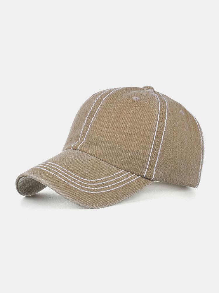 Men Washed Cotton Plain Color Baseball Cap Outdoor Sunshade Adjustable Hat