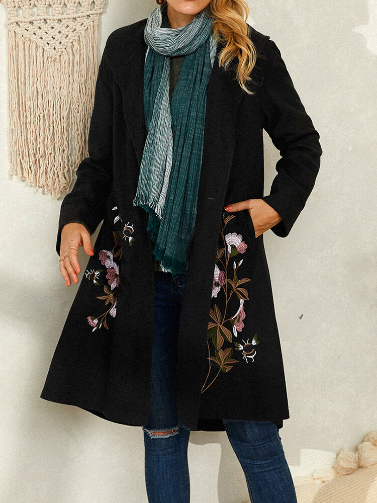 Floral Embroidery Vintage Lapel Collar Coat For Women