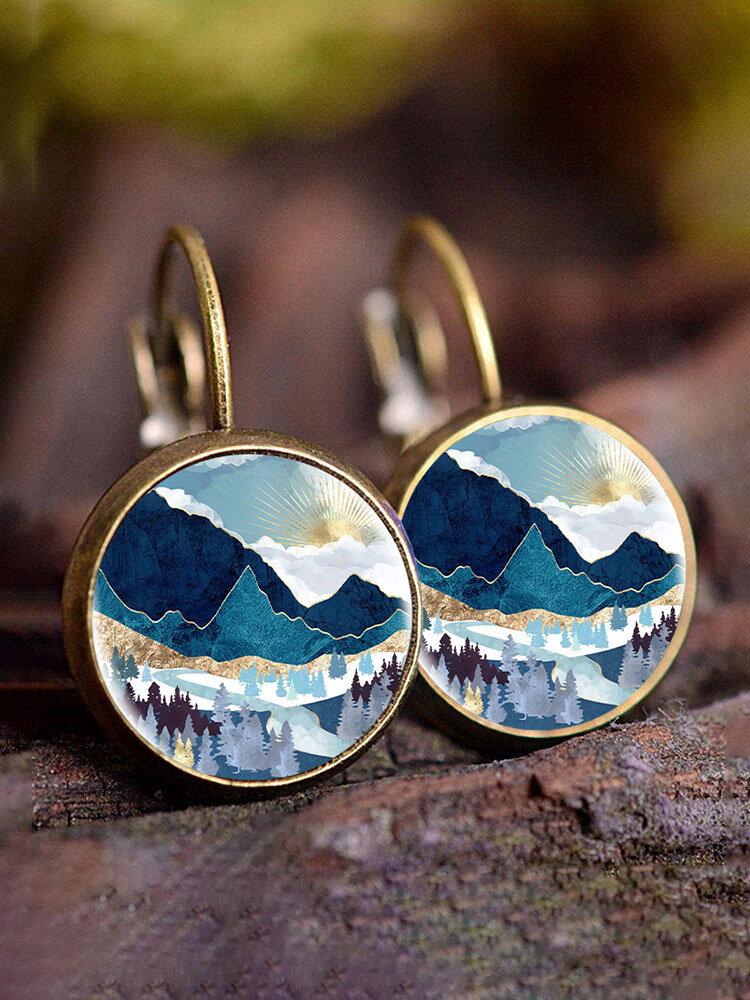 Trendy Metal Round Natural Landscape Print Glass Pendant Earrings