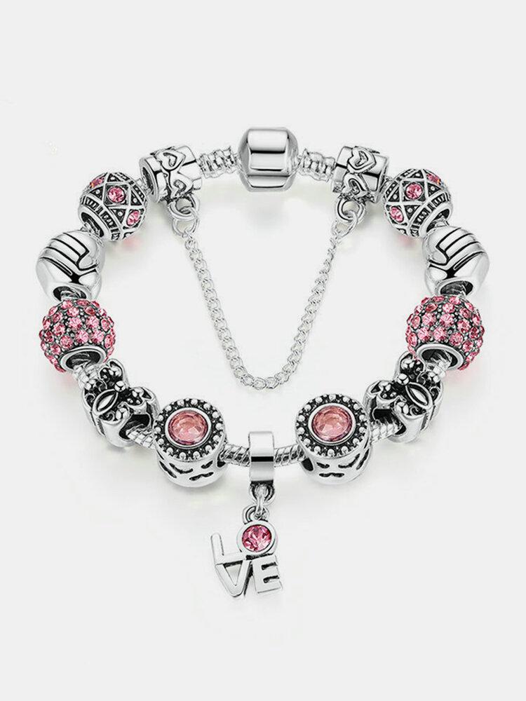 Silver Crown Love Charm Bracelet for Women Crystal Glass Beads Bracelets DIY Jewelry Accessories