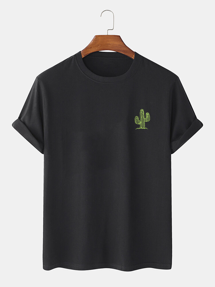 Mens Cactus Chest Print Casual Short Sleeve 100% Cotton T-Shirts