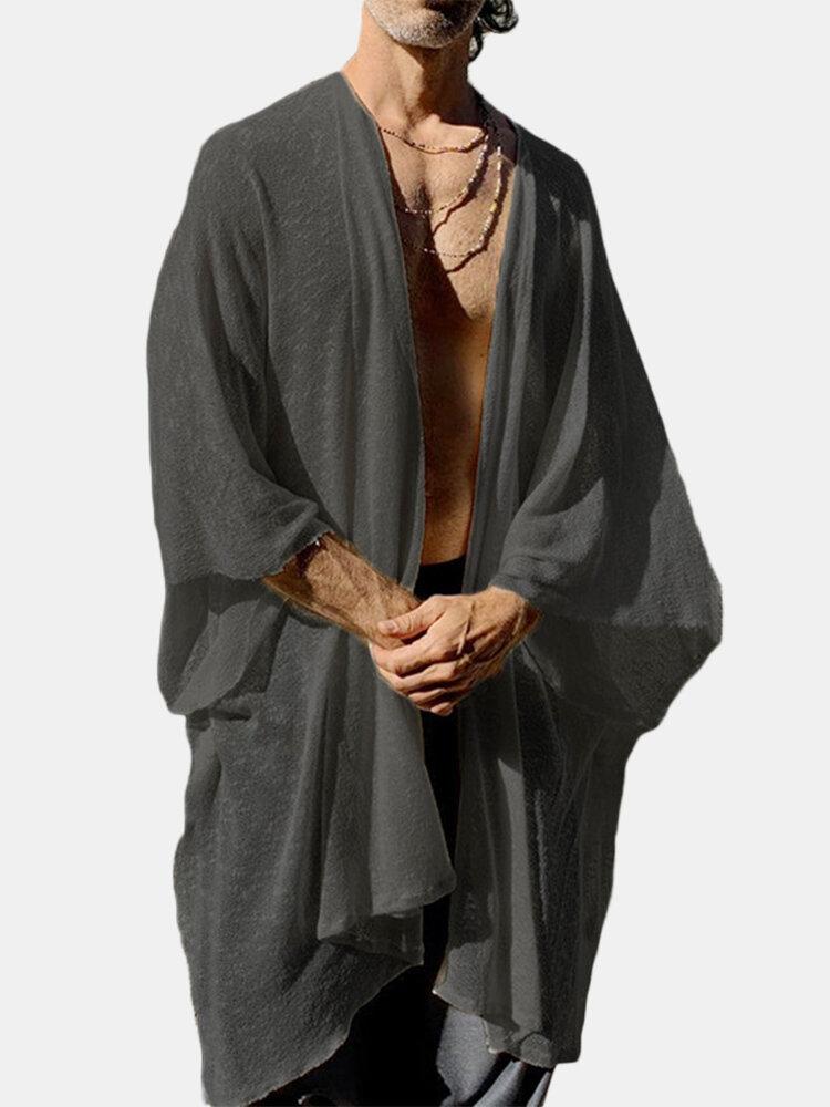 Mens Womens 3/4 Sleeved Asymmetric Loose Cloak Cape Cardigans