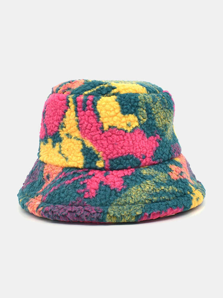 Women & Men Cotton Mix Color Printing Velvet Keep Warm Outdoor Travel Casual Bucket Hat