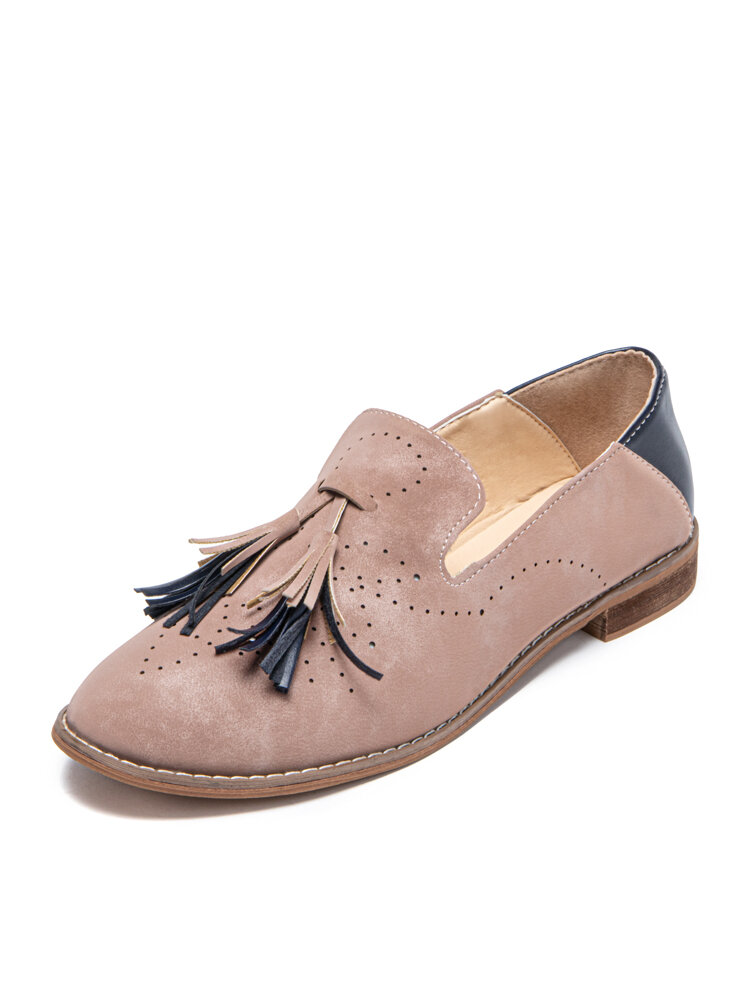 Women Hollow Brogue Tassel Decor Breathable Comfy Slip-on Casual Loafers
