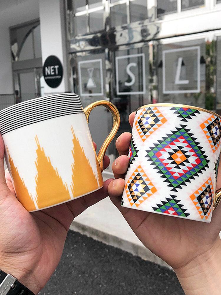 Ceramic Gold Handle Mug Coffee Milk Water Cup Business Office Wedding Gift