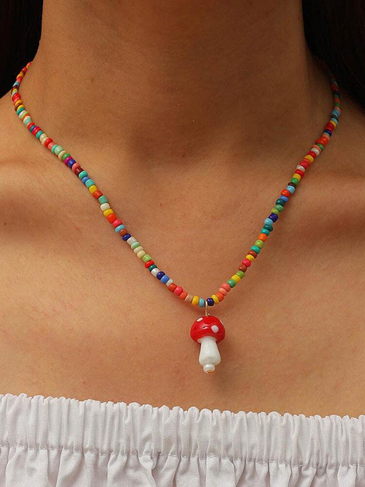 Bohemian Beads Mushroom Colgante Collar Collar de cuentas de temperamento