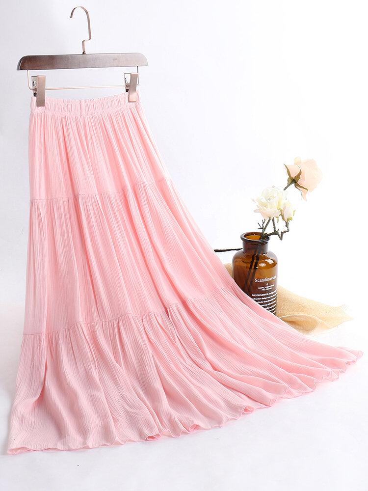 Pure Color Elastic Waist Patchwork Vintage Maxi Skirts