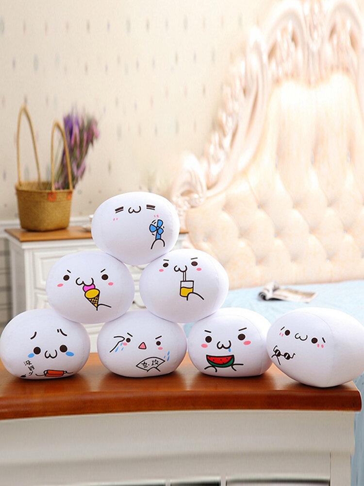 Cute Decorative Throw Pillow for Home Office Sofa Stuffed Toys Back Cushion White Kaomoji