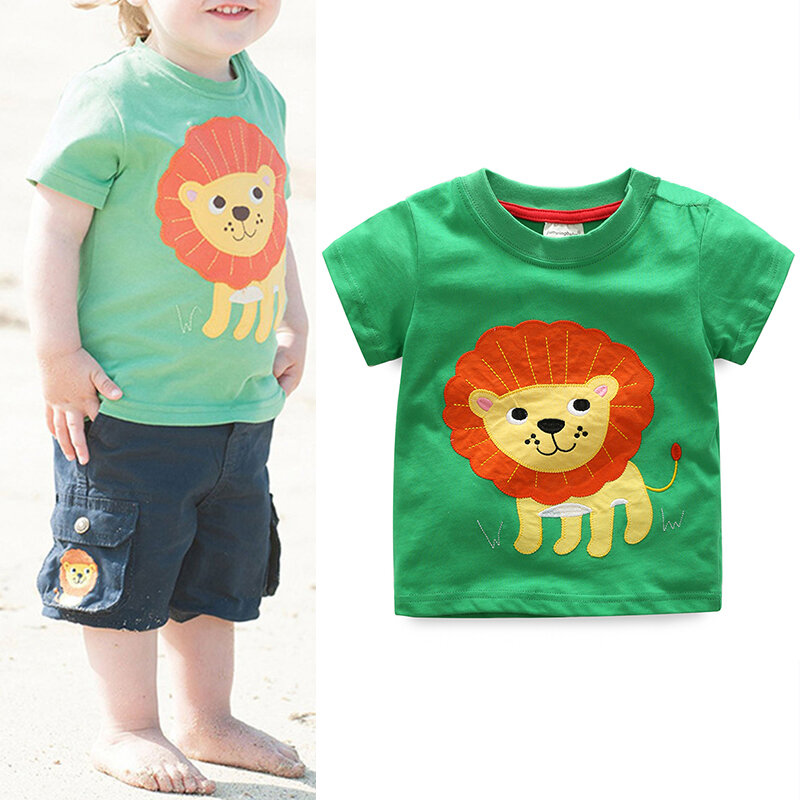 Cute Animal Pattern Boys Toddler Kids Short Sleeve Cotton T-Shirt For 1Y-9Y
