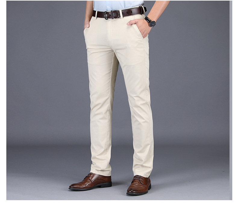 Mens thin loose casual pants men's summer fashion business solid color stretch pants
