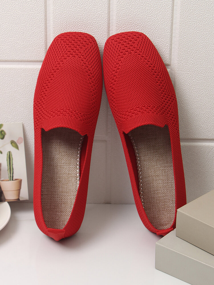 Women Solid Mesh Hollow Out Stitching Shoes Comfy Soft Flats