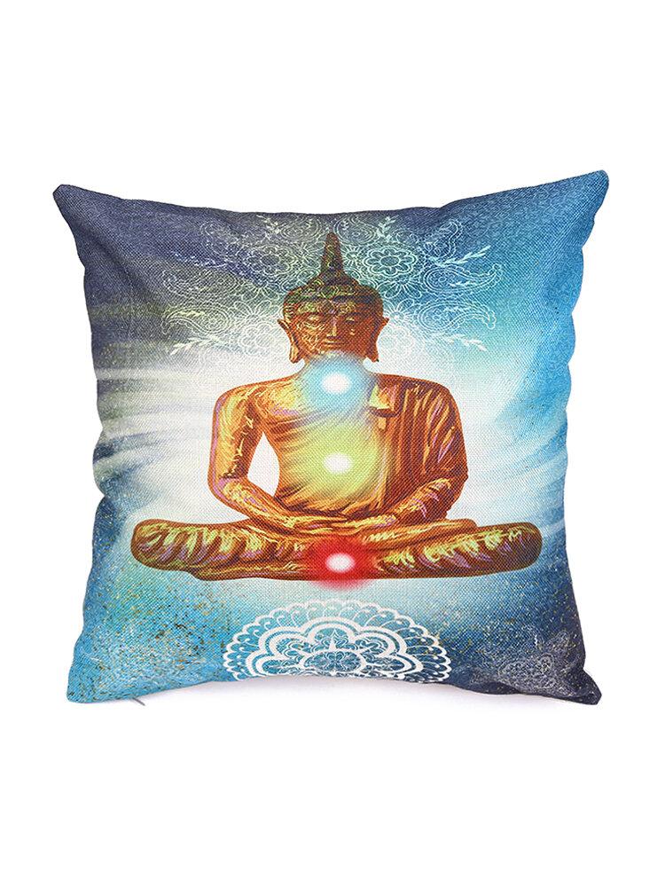 Bohemian Buddha Cotton Linen Pillow Case Waist Cushion Cover Bags Home Car Deco