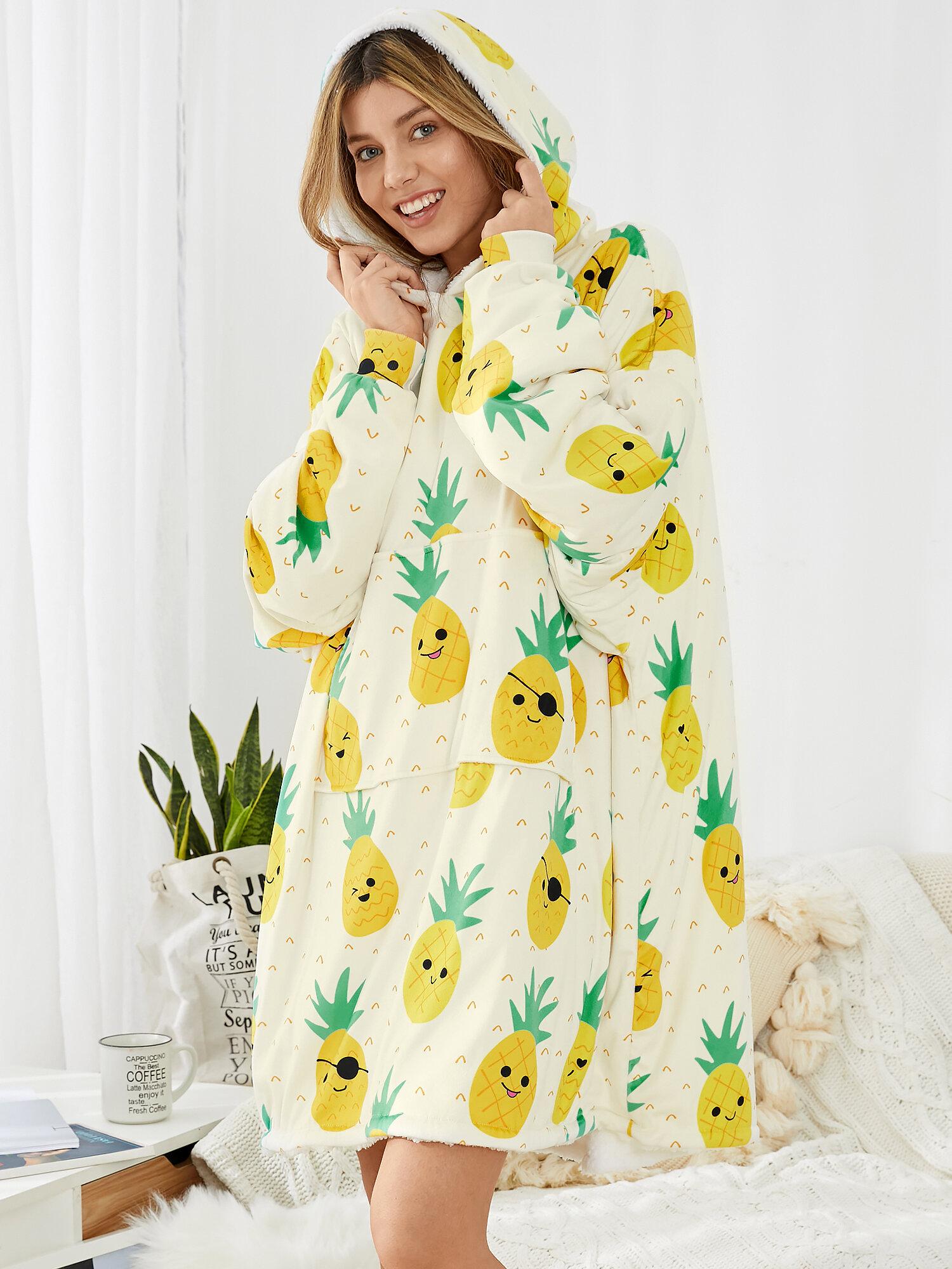 Женское одеяло большого размера с забавным принтом ананаса по всей поверхности Халат Носимое одеяло на флисовой подкладке Толстовка с капюшоном Домашняя уютная толстовка с карманом в виде кенгуру
