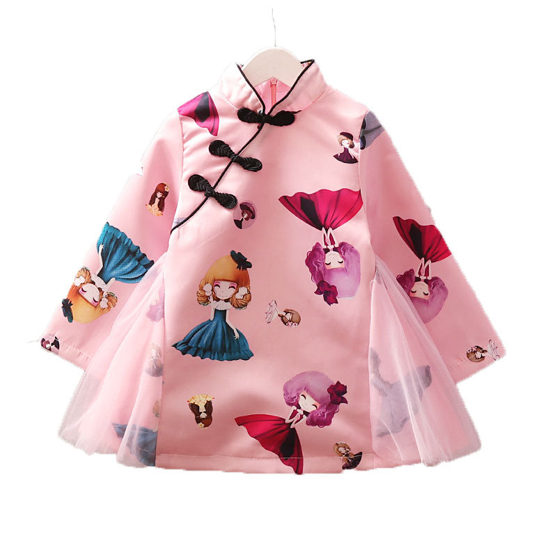 Vintage Chinese Style Toddler Girls Printed Dress For 2-7Y
