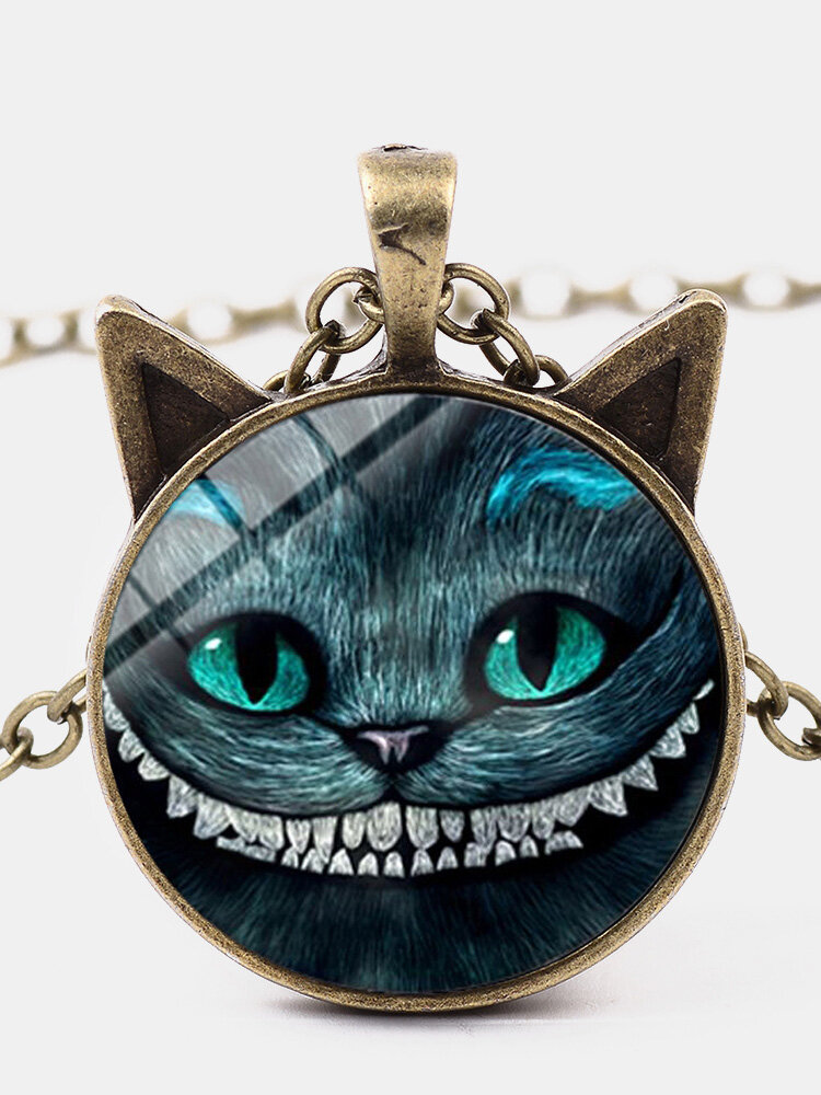 Vintage Geometric Glass Printed Women Necklace Smiling Cat Two Ears Pendant Necklace