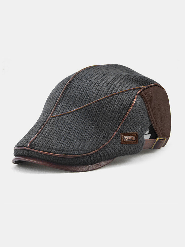Men Knit Leather Patchwork Color Casual Personality Forward Hat Beret Hat