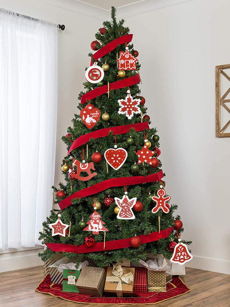 18Pcs/30Pcs Christmas Tree Top Decoration Wooden Christmas Ornaments Wood Slices Ornaments