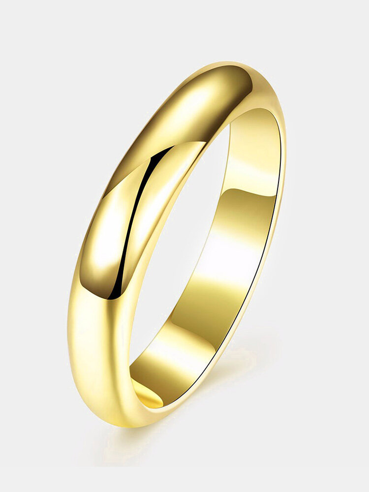 Simple Women Ring Luxury Gold Bright Ring