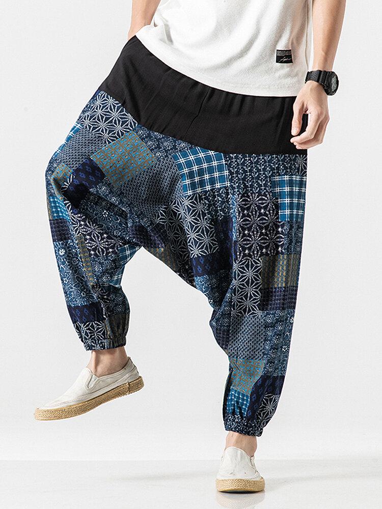 Men 100% Cotton Ethnic Printed Patchwork Casual Loose Harem Pants