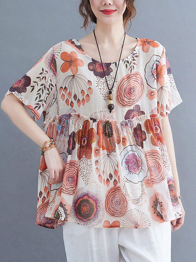 Vintage Flower Printed Ruffle Patch Plus Size Blouse Casual Women T-Shirt
