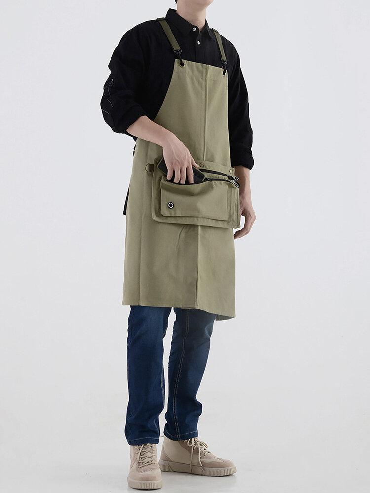 Dual Purpose Cotton Canvas Waterproof Apron Denim Kitchen Overalls Waist Shoulder Bag