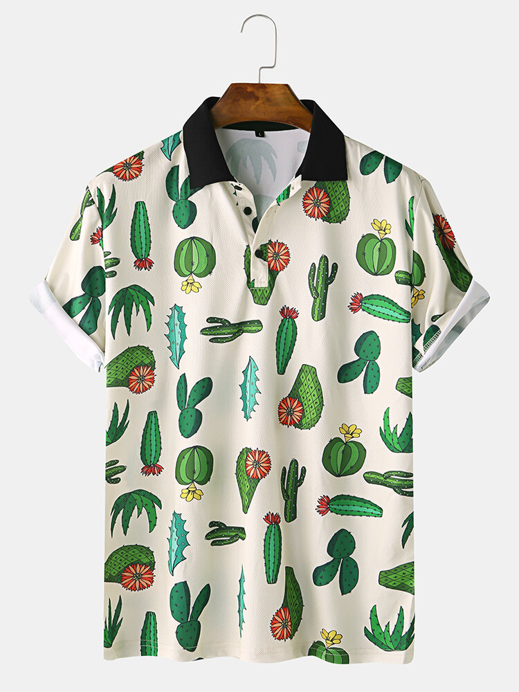 Men Cactus Pattern Fun Home Casual Loose Short Sleeve T-Shirt on sale-NewChic