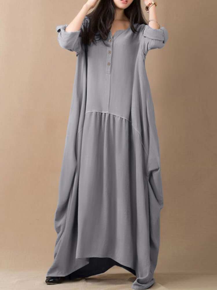 Casual Solid Color Pleated Long Sleeve Loose Irregular Dress