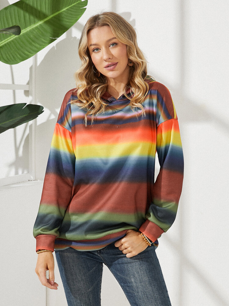 Contrast Color Striped Tie-dyed Long Sleeve Casual Hoodie for Women