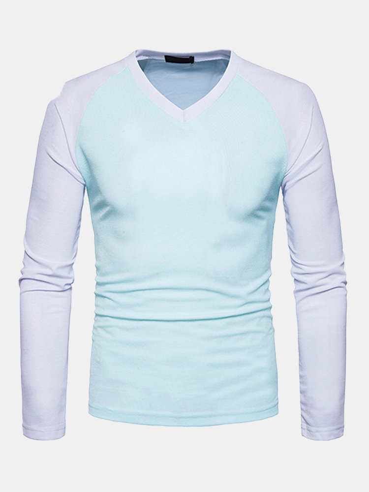 Mens_Fashion_Patchwork_Hit_Color_Vneck_Longsleeve_Slim_Fit_Casual_Tshirt