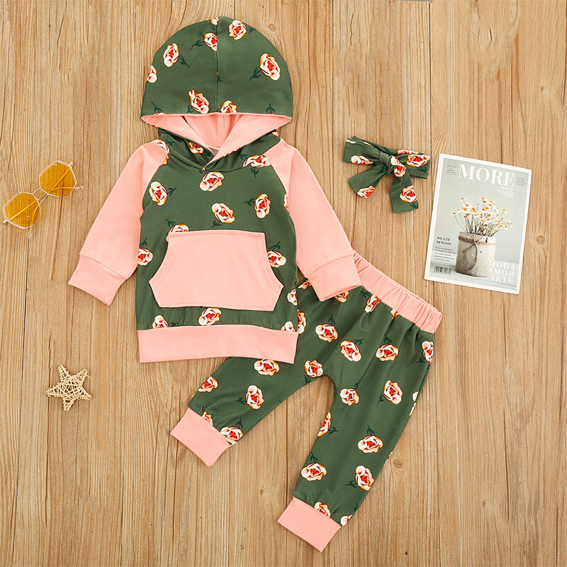 Conjunto de ropa con capucha y mangas largas con estampado floral para bebés para 6-24M