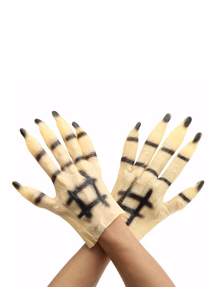 Halloween Rubber Costumes Masquerade Party Supplies Gloves Carnival Skeleton Gloves