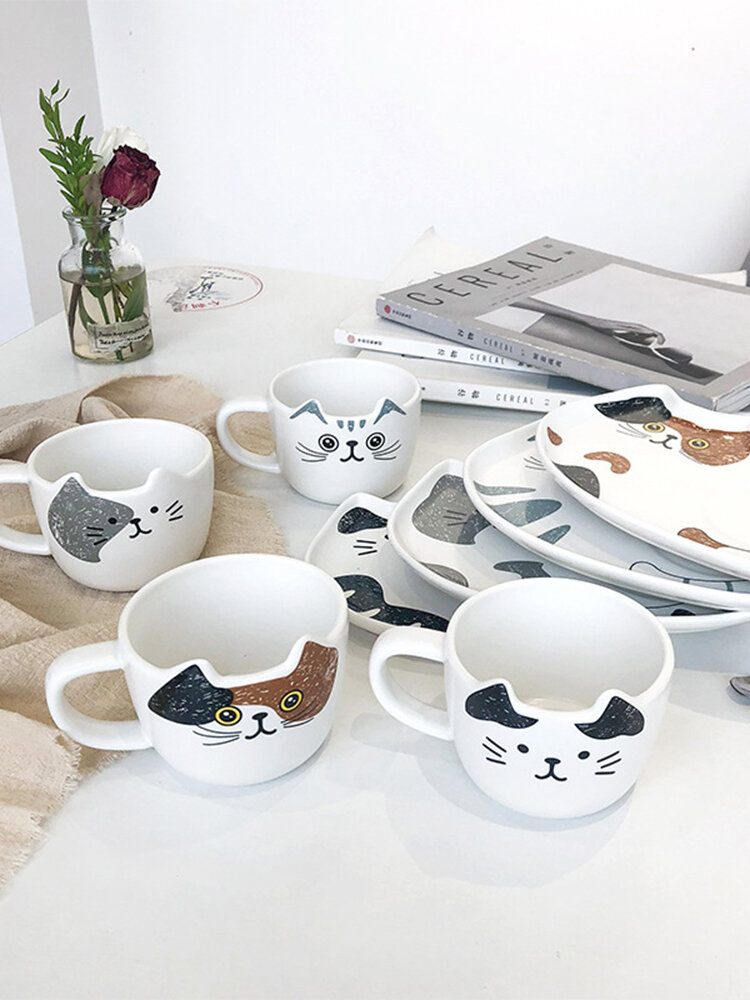 Cat Ceramic Coffee Cup And Saucer Suit Water Cup Hotel Dessert Mug Customization