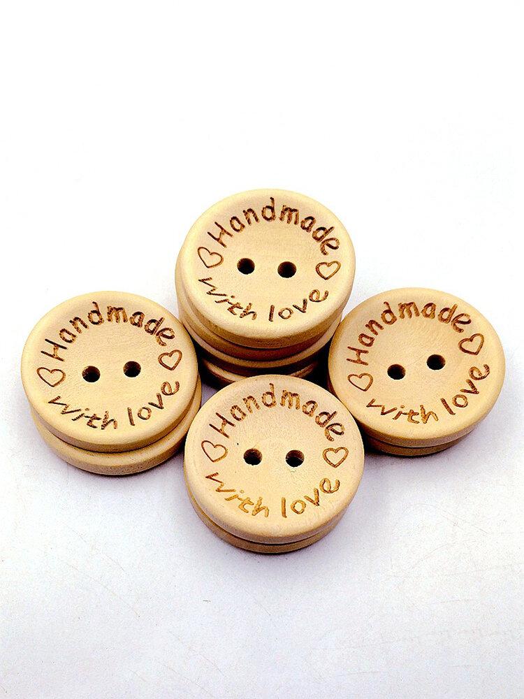 Bottone di legno da cucito con emoji