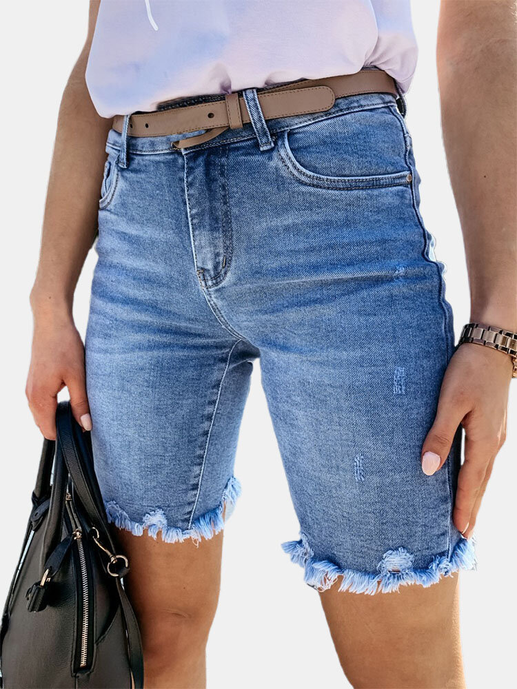 Washed Denim Tassel Tight-fitting Short Jeans with Pocket for Women