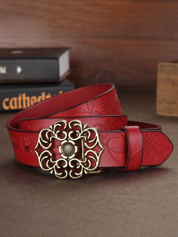 Women Ladies Second Layer Belt Cow Genuine Leather Flower Strap Retro Lotus Leaf Buckle Belts