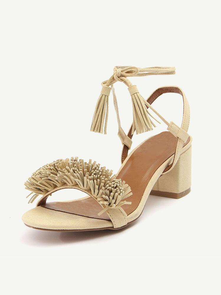 Tassel Vintage Retro Chic Lace Up Peep Toe Square Heel Sandals