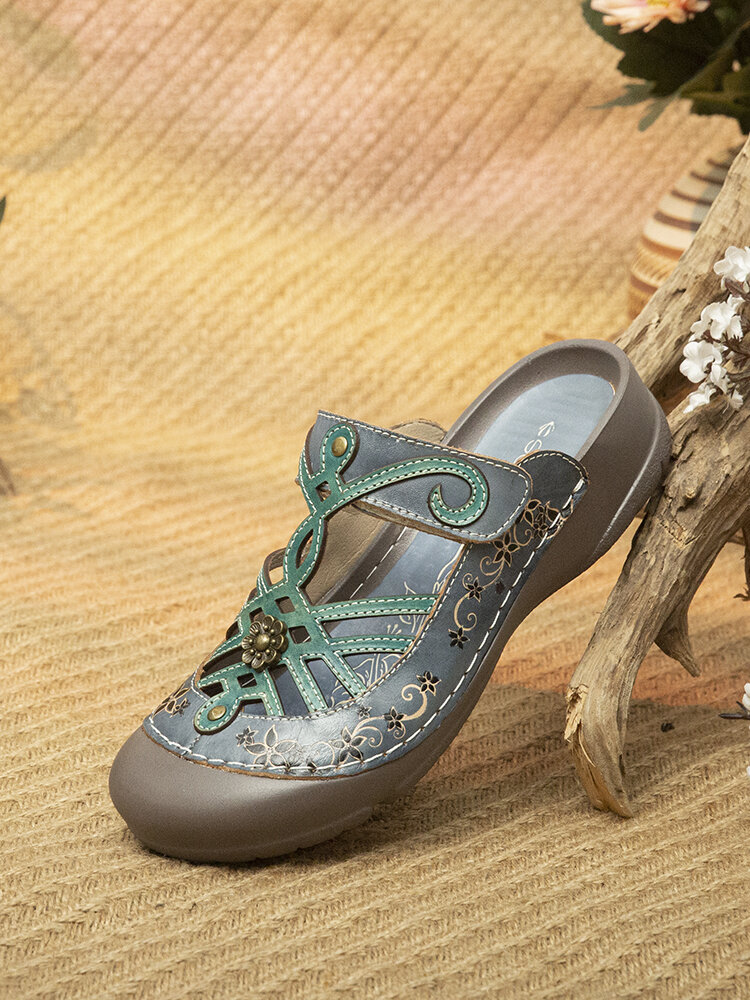 Socofy Bohemian Floral Print Hollow Out Leather Adjustable Hook Loop Closed Toe Mule Sandals