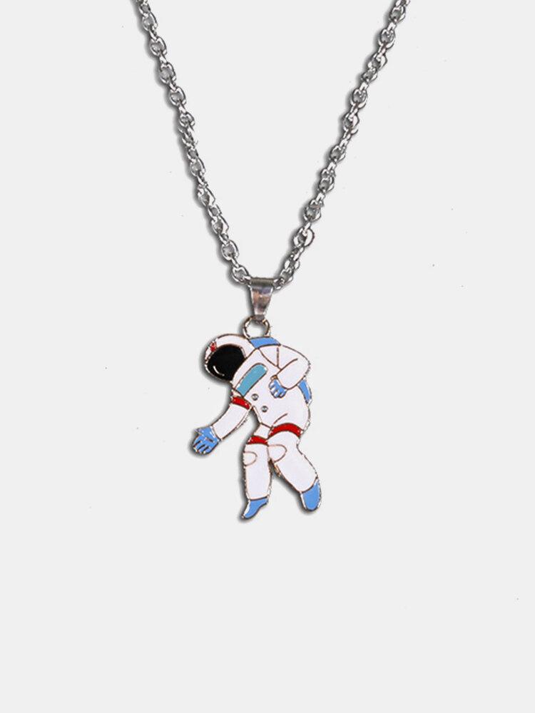 Personality Titanium Steel Men Necklace Cute Astronaut Space Rocket Pendant Women Clavicle Chain