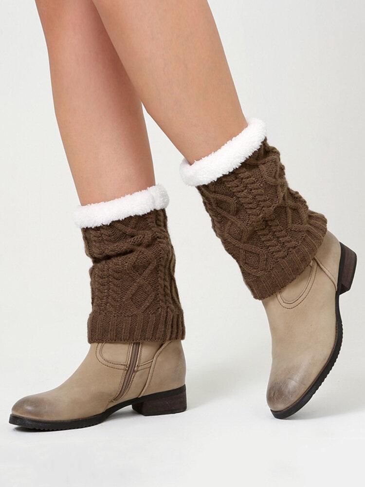 女性ツイストニット厚く膝パッド暖かい脚セットウールブーツセット脚保護靴下