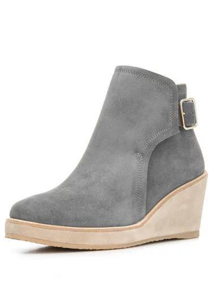 Women Solid Buckle Strap Wedges Ankle Boots